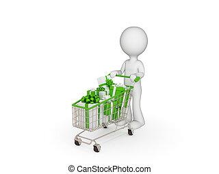 kicsi, személy, trolley., bevásárlás, 3