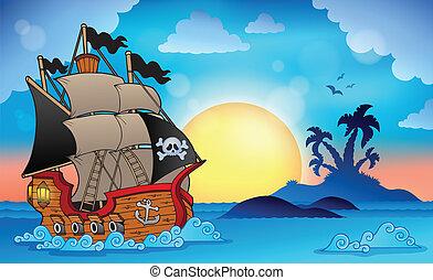 kicsi sziget, 3, hajó, kalóz