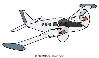 kicsi, twin-engine, repülőgép
