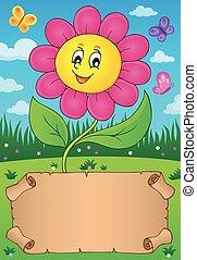 kicsi, virág, pergament, boldog