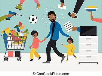 kids., bevásárlás, dolgozó, gyerekek, man., játék, üzletember, fekete, több feladattal való megbízás, atya