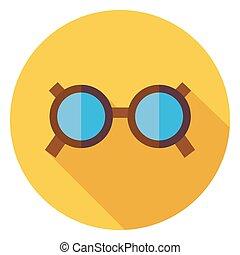 kiegészítő, szemüveg, ikon, karika, árnyék, lakás, hosszú