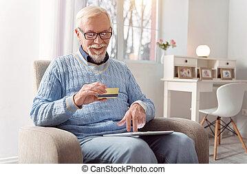 kiegyenlít, kellemes, kártya, online, idősebb ember, part, ember