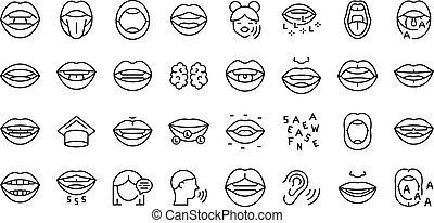 kiejtés, áttekintés, gyermekkor, kialakulás, vector., állhatatos, ikonok