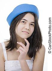 kifejezés, leány, megható, chin., kék, feláll, fiatal, tapogat, figyelmes, elszigetelt, kalap, tízenéves kor, látszó, gyönyörű, fehér