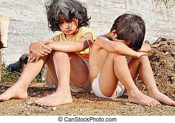 kifejezés, szegénység, poorness, gyerekek