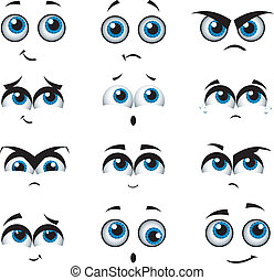 kifejezések, különféle, karikatúra, arc