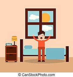 kifeszítő, betű, feláll, reggel, hálószoba, ébredés, karikatúra