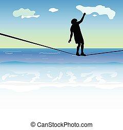 kifeszített kötél jár, felül, tenger, ember