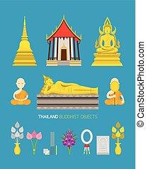 kifogásol, buddhista, állhatatos, thaiföld