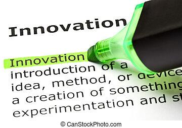 kijelölt, 'innovation', zöld