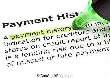 kijelölt, 'payment, zöld, history'