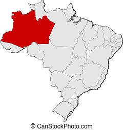 kijelölt, térkép, amazonas, brazília