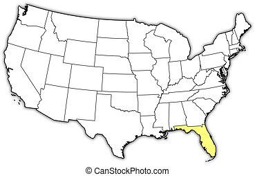 kijelölt, térkép, egyesült, florida, egyesült államok