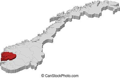 kijelölt, térkép, hordaland, norvégia
