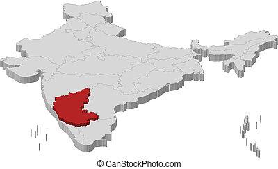 kijelölt, térkép, karnataka, india