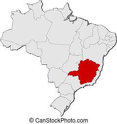 kijelölt, térkép, minas, brazília, gerais