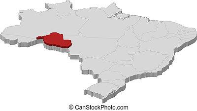 kijelölt, térkép, rondonia, brazília