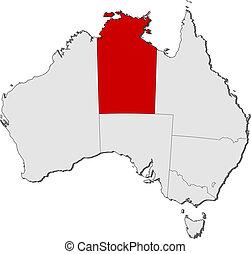 kijelölt, térkép, treeitory, ausztrália, északi