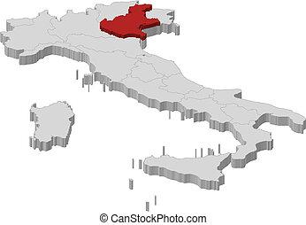 kijelölt, térkép, veneto, olaszország
