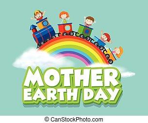 kiképez, anya, boldog, földdel feltölt, gyerekek, tervezés, nap, poszter
