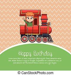 kiképez, karikatúra, születésnap, boldog