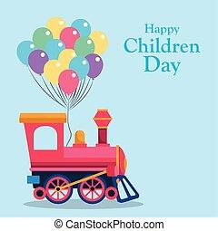 kiképez, tervezés, gyerekek, boldog, fülke, színes, üres, léggömb, nap