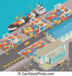 kikötő, bárka, rakpart, rakomány, isometric