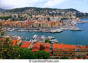 kikötő, cityscape, nice(france), felül, kilátás