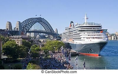 kikötő, dáma victoria, sydney, luxushajó