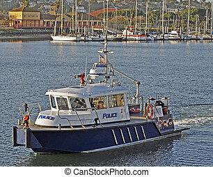 kikötő, firefighting, rendőrség, edény