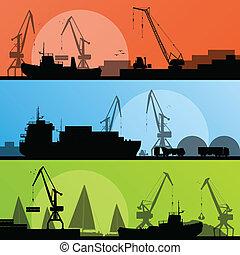 kikötő, ipari szállítás, ábra, hajó, vektor, tengerpart, gyűjtés, háttér, árnykép, daru, táj