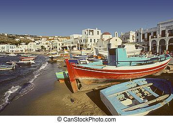 kikötő, mykonos, tengerpart, görögország