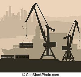 kikötő, rév, vektor, háttér, hajó, daru