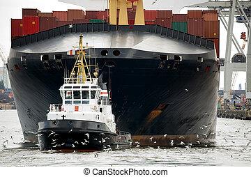 kikötő, révkalauzhajó, vontatás, fuvarozó
