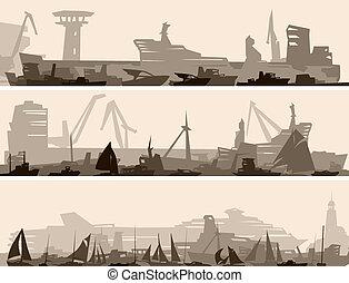 kikötő, sok, különböző, ships.