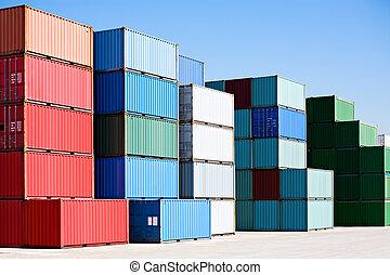 kikötő, teherárú tároló, rakomány, végső