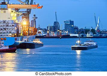 kikötő, város