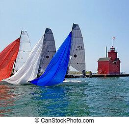 kikötő, vitorlás hajó, michigan, spinnakers, színes