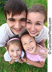 kilátás, áll, külső, szülők, gyerekek, birtoklás, tető, átölelt