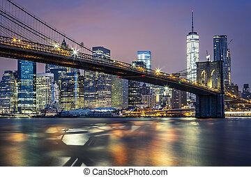 kilátás, éjszaka, brooklyn bridzs