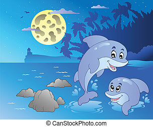 kilátás a tengerre, delfinek, éjszaka, boldog