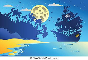 kilátás a tengerre, hajó, 2, kalóz, éjszaka
