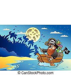 kilátás a tengerre, kalóz, csónakázik, éjszaka