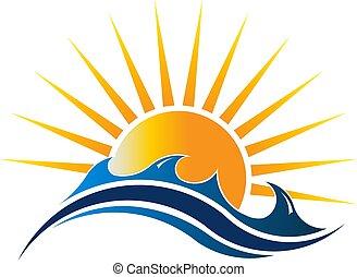 kilátás a tengerre, napfény, vektor, ábra, jel