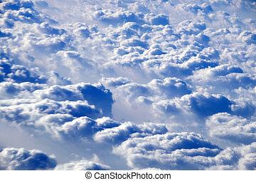 kilátás, elhomályosul, láthatár, levegő, felül, repülőgép
