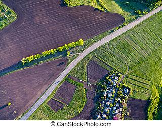kilátás, eredet, napnyugta, táj, ukrajna, vidéki, antenna