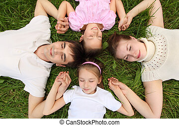 kilátás, fej, fekvő, tető, fű, fej, szülők, gyerekek, összeillesztett, birtoklás, kézbesít