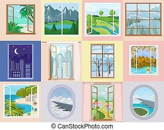 kilátás, háttérfüggöny, háttér, szünidő, ábra, ablak, tengerpart, állhatatos, saját belső, dekoráció, vektor, épület, szoba, fából való, tenger, hegy, keret, tervezés, repülőgép, gyönyörű, reflektor