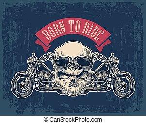 kilátás, lejtő, glasses., koponya, motorkerékpár